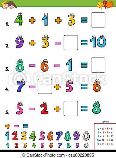 Las matemáticas calculan el juego educativo para los niños - csp60220835