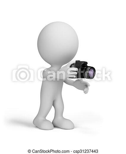 Hombre 3D con una cámara - csp31237443