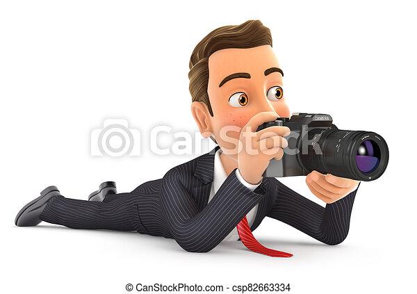 cámara, abajo, hombre de negocios, 3d, acostado - csp82663334