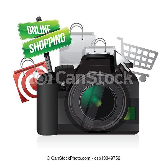 cámara, concepto, ir de compras en línea directa - csp13349752