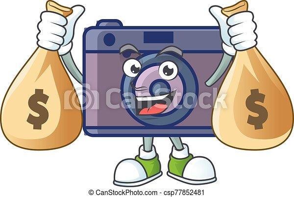 cámara, dinero, imagen, carácter, tenencia, retro, bolsas, caricatura, lindo - csp77852481