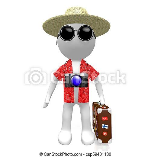 Un turista 3D con cámara - csp59401130