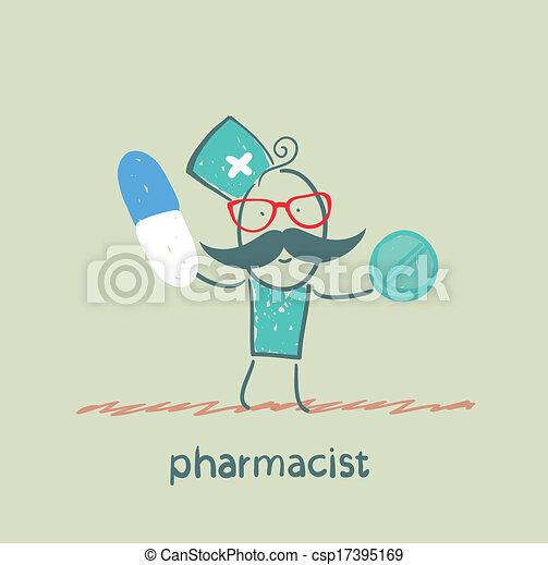 El farmacéutico sostiene una cápsula y una tableta - csp17395169