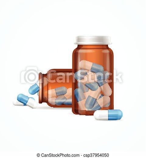 Pastillas de pastillas en una botella de cristal médico. Vector - csp37954050