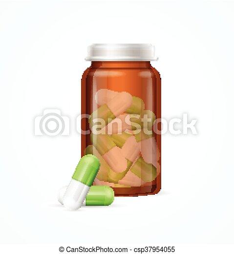 Pastillas de pastillas en una botella de cristal médico. Vector - csp37954055