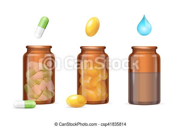 Cápsulas de pastillas en frascos de cristal. Vector - csp41835814