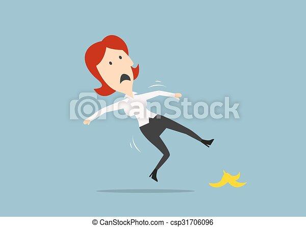 Mujer de negocios resbalando en una cáscara de plátano - csp31706096