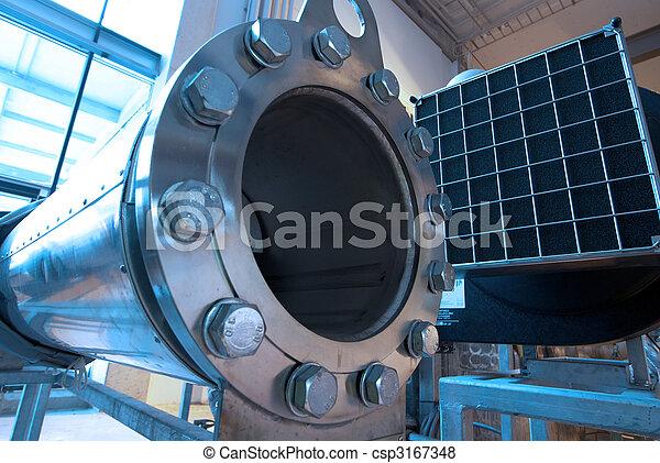 câbles, intérieur, équipement, moderne, trouvé, industriel, puissance, tuyauterie, plante - csp3167348