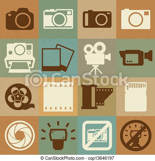 câmera, jogo, vídeo, retro, ícones - csp13646197