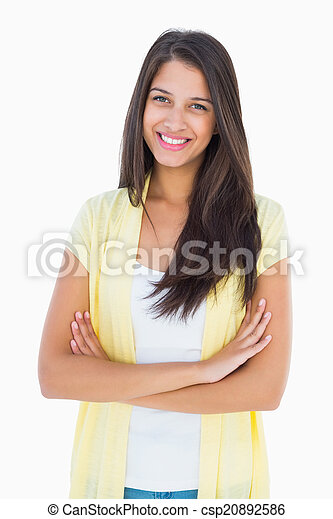câmera, mulher sorridente, casual, feliz - csp20892586
