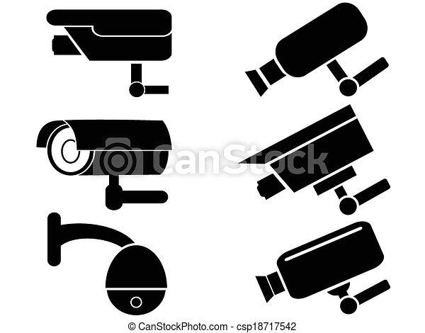 câmera segurança, jogo, vigilância, ícones - csp18717542