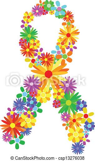 câncer, peito, fita - csp13276038