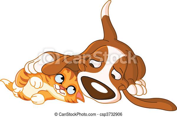 cão, gato - csp3732906