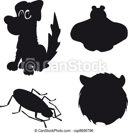 cão, silueta, erro, urso - csp8690796