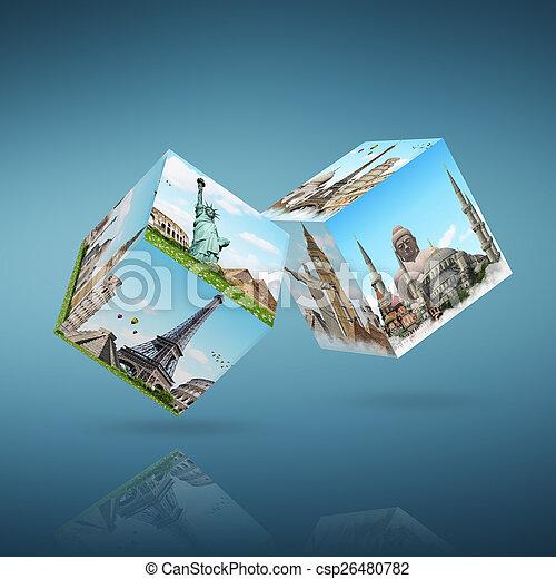 célèbre, dés, illustration, monument - csp26480782