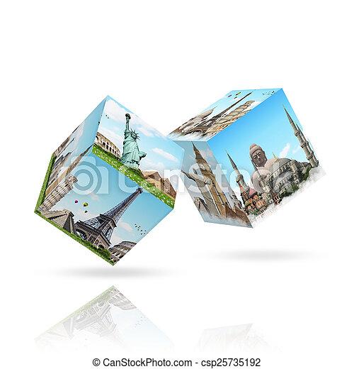 célèbre, dés, illustration, monument - csp25735192
