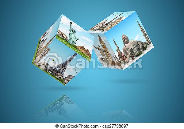 célèbre, dés, illustration, monument - csp27738697