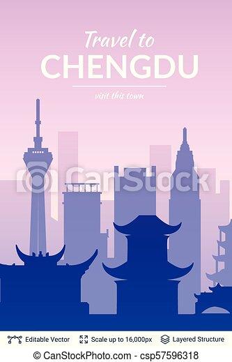 célèbre, porcelaine, chengdu, scape., ville - csp57596318