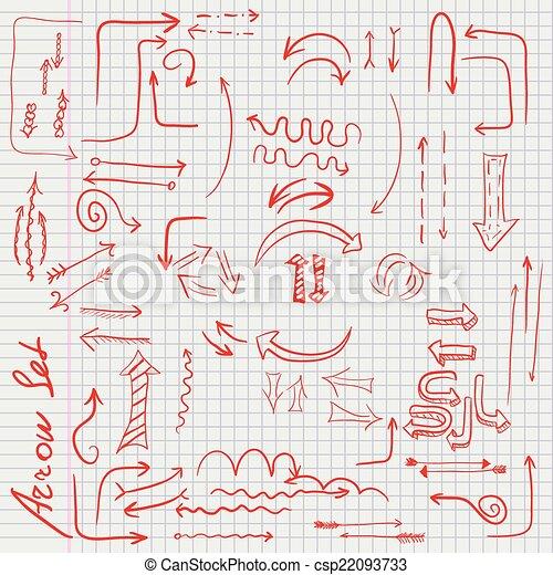 Célula, garabato, hoja, flecha roja. Garabato, sheet.,... vectores ...