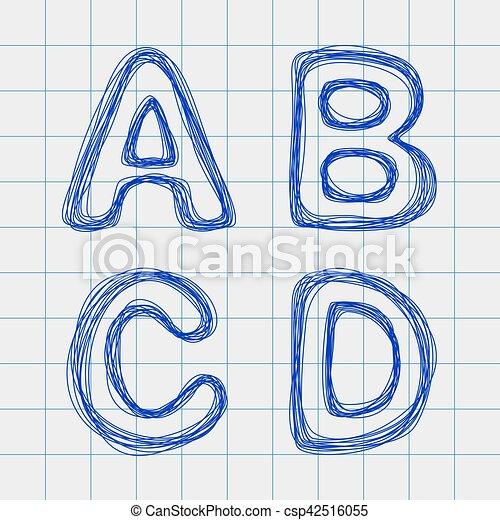 Célula, hoja, cuaderno, cartas, dibujado. Edit., cartas, d, forma, c ...