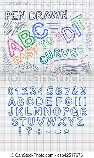 Célula, hoja, cuaderno, cartas, dibujado. Cartas, contorno, forma ...