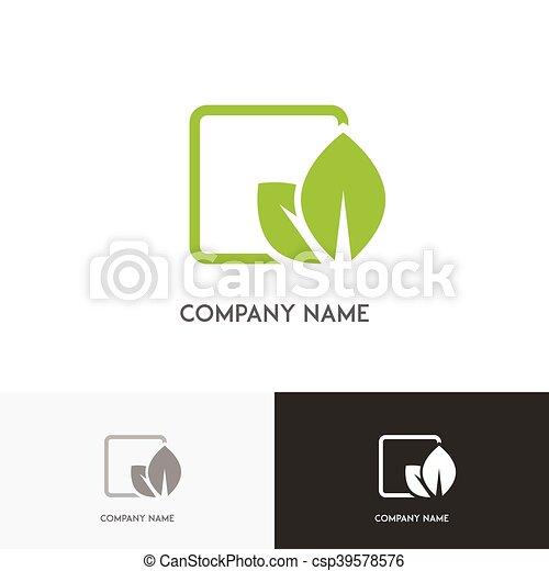 Célula, logotipo, hojas, verde. Naturaleza, hojas, -,... ilustración ...