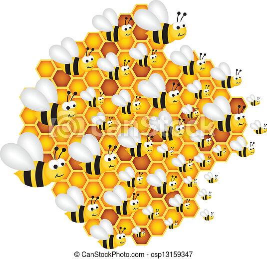 clulas abejas relleno colmena vector