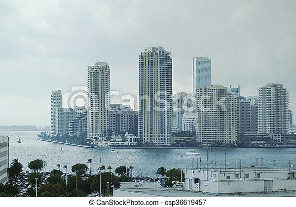 Miami, Florida, el horizonte del centro - csp36619457