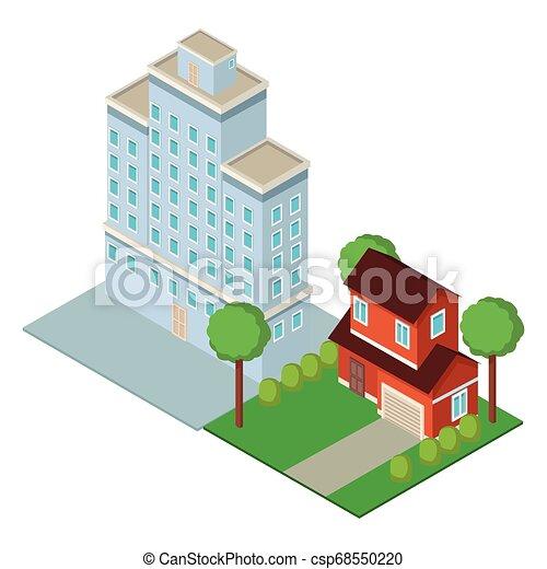 En el centro y en el edificio de la casa - csp68550220