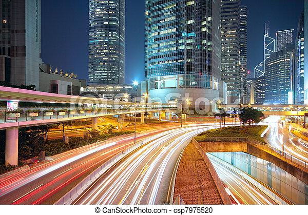 céntrico, noche, tráfico, área - csp7975520