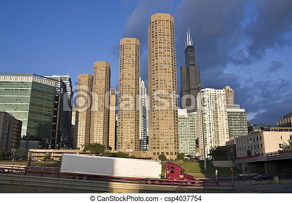 céntrico, tráfico, chicago - csp4037754
