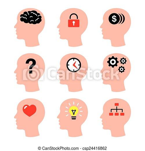 Cerebro Icones Cabeca Homem Pensamentos Que Jogo Pessoas