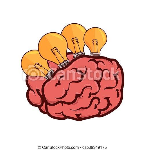 cérebro, bulbo, luz - csp39349175