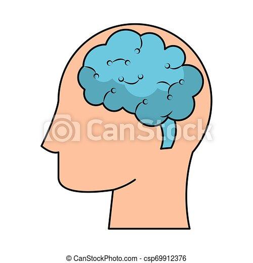 cérebro, cabeça, silueta, símbolo, human - csp69912376