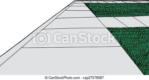La acera aislada y el césped - csp27578587
