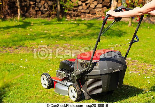 Jardinería. Cortando césped verde con cortadora de césped roja - csp20188816