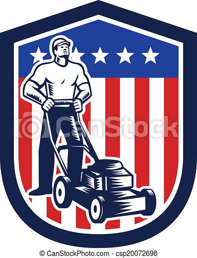 Jardinero cortando la bandera de cortacéspedes retro - csp20072698
