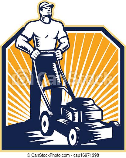 Jardinero cortando cortadora de césped retro - csp16971398