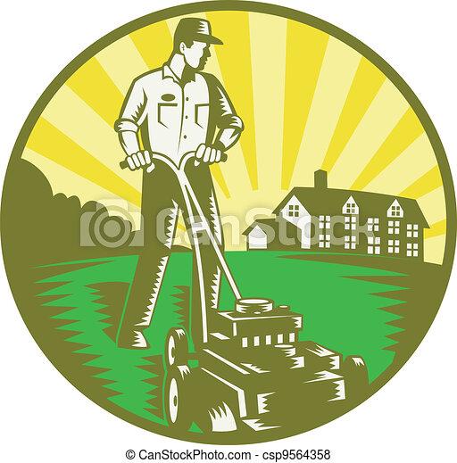Jardinero cortando cortadora de césped retro - csp9564358