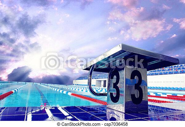 céu, desporto, abertos, piscina, natação - csp7036458