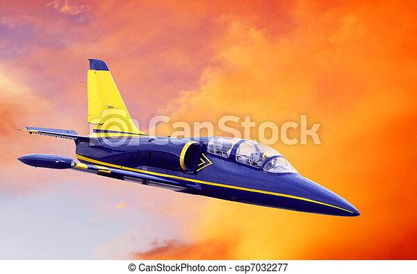 céu, ocaso avião - csp7032277