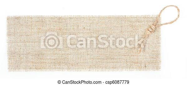 címke, felett, lakberendezési tárgyak, zsákruha, fehér - csp6087779