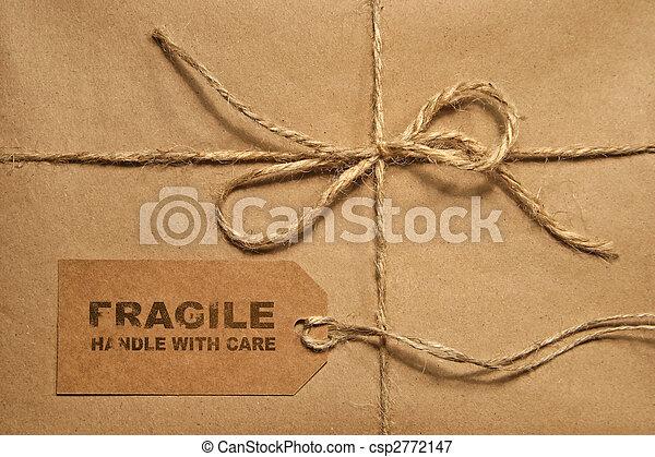 címke, hely, bekötött, csomag, barna, hajózás, másol, zsinór - csp2772147