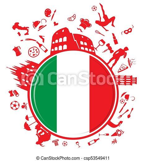 círculo, fundo, italiano - csp53549411