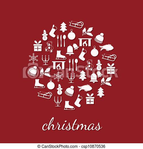 círculo, navidad, iconos - csp10870536