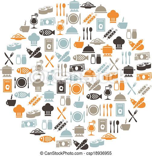 círculo, restaurante, iconos - csp18936955