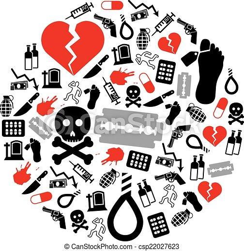 círculo, suicidio, iconos - csp22027623