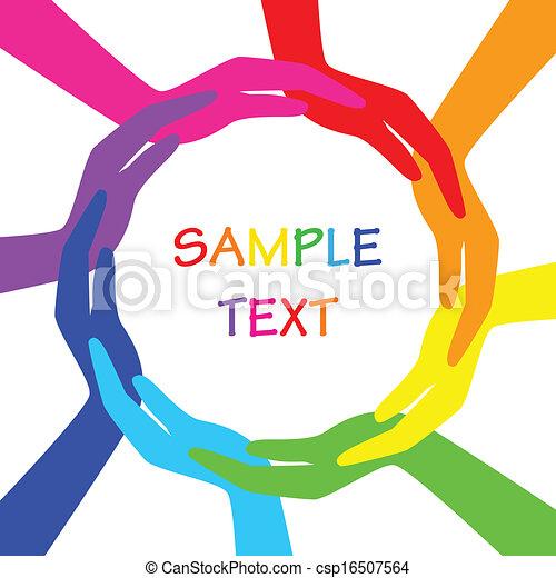Círculo vectorial de manos coloridas - csp16507564