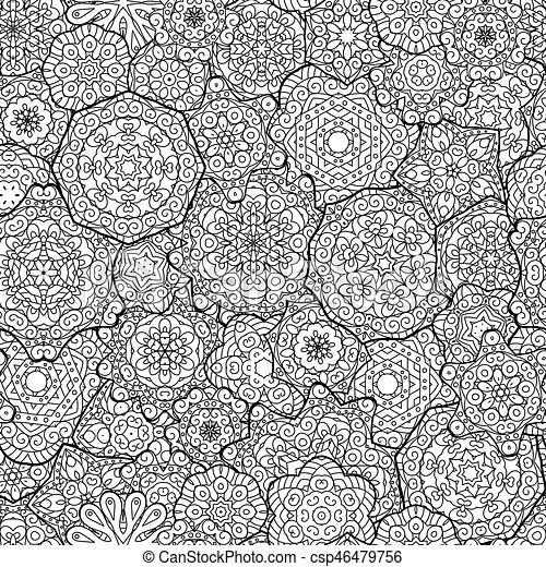 Mandalas florales étnicas, círculos de fondo en vector. Patrón sin costura. Patrón blanco y negro para colorear libros para adultos y niños. - csp46479756