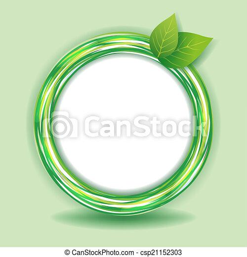 Círculos, eco, hojas, fondo verde. Decorativo, eco, resumen ...